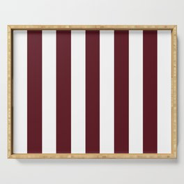 Chocolate cosmos purple - solid color - white vertical lines pattern Serving Tray