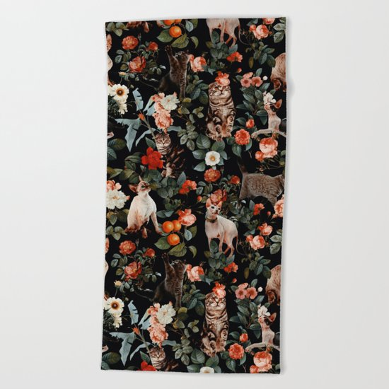 Cat and Floral Pattern II Beach Towel