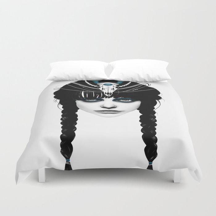 Wakeful Warrior - In Blue Duvet Cover