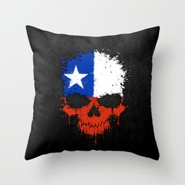 Flag of Chile on a Chaotic Splatter Skull Throw Pillow