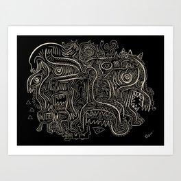 Black and White Graffiti Art Tribal  Art Print