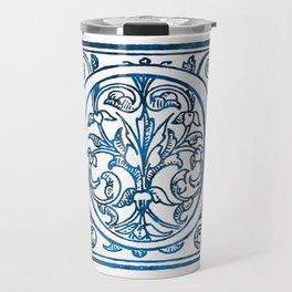 Letter O Antique Floral Letterpress Travel Mug