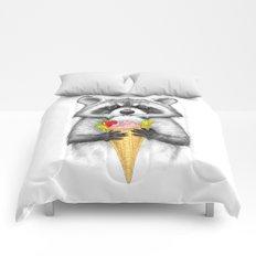 raccoon with ice cream Comforters