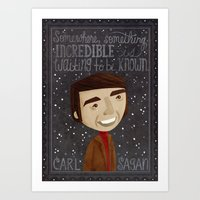 carl sagan Art Prints featuring Carl Sagan by Stephanie Fizer Coleman