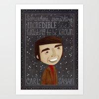 sagan Art Prints featuring Carl Sagan by Stephanie Fizer Coleman