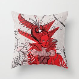 Woman Wolf Throw Pillow