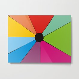 Colorful geometry with ink stsin in the center Metal Print