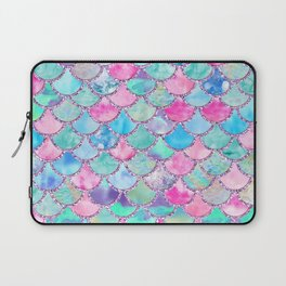 Colorful Pink and Blue Watercolor Trendy Glitter Mermaid Scales  Laptop Sleeve