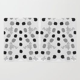 Jordan - black and white grey minimal modern dorm college trendy abstract painting dots brushstrokes Rug