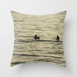 Surfers Waiting for Wave Golden Sea Throw Pillow