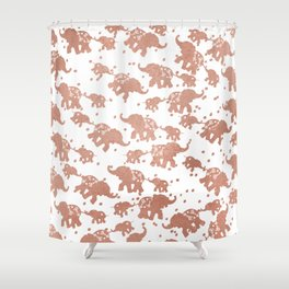 Elegant faux rose gold white polka dots cute elephants Shower Curtain