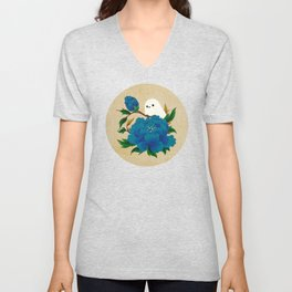 Minhwa: Crow-Tit and Peony C Type  Unisex V-Neck