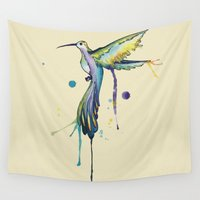 hummingbird Wall Tapestries featuring Hummingbird by ChaoticWaffle