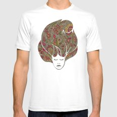 Dreaming with flowers White Mens Fitted Tee MEDIUM