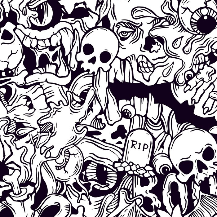 BW Halloween horror pattern Leggings
