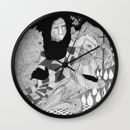 Jesus and Mary - Abstract Ink Drawing Wall Clock