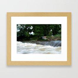 The River! She is Raging! Framed Art Print