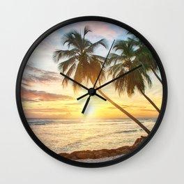 Palms Sunset Wall Clock