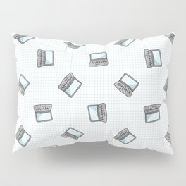 Hand drawn cartoon scattered laptop for working at home. Pillow Sham