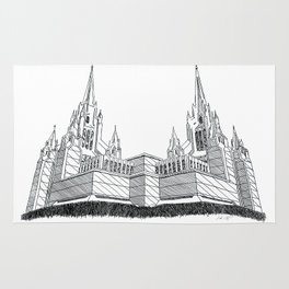 San Diego LDS Temple Ink Drawing Rug