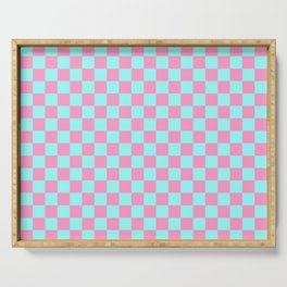 Pink and Blue Checkerboard Serving Tray