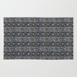 African Tribal Blockprint // Navy & Eggshell Rug
