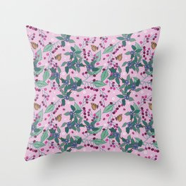 Cherries and Sloes pattern Throw Pillow