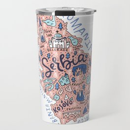 Map of Serbia Travel Mug