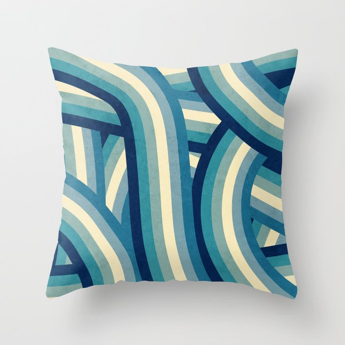 Vintage Faded 70's Style Blue Rainbow Stripes Throw Pillow