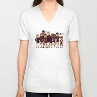 haikyuu V-neck T-shirts featuring FLY by rhymewithrachel