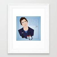 scrubs Framed Art Prints featuring J.D. Scrubs-Let your mind soar like an eeeeeagle. by Violet's Corner