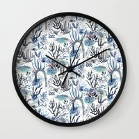 under the sea Wall Clocks featuring Under the Sea by jenna lechner
