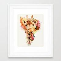 giraffe Framed Art Prints featuring giraffe by RIZA PEKER