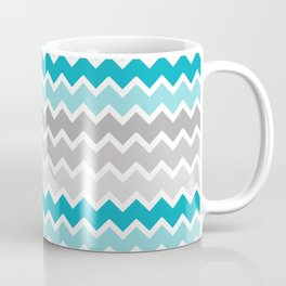 Turquoise Teal Blue Gray Chevron Coffee Mug