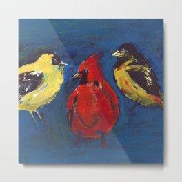 Shadow Bird (Cardinal, Goldfinches, and ?) Metal Print