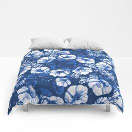 Midnight Blooms - Blue Porcelain  Comforters