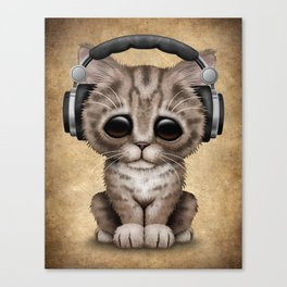 Cute Kitten Dj Wearing Headphones Canvas Print