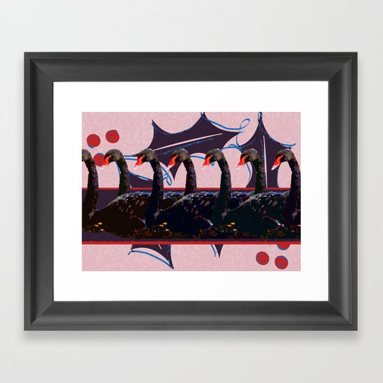 7 Swans-a-Swimming - 12 Days of Christmas Series Framed Art Print