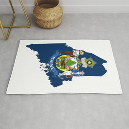 Maine Map with Flag of Maine Rug