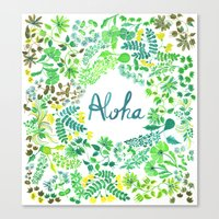 aloha Canvas Prints featuring Aloha by madelinetrait