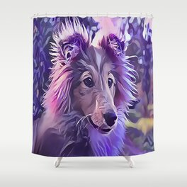 Shetland Sheepdog Puppy Shower Curtain