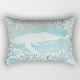 Watercolor Whale Papercut Rectangular Pillow