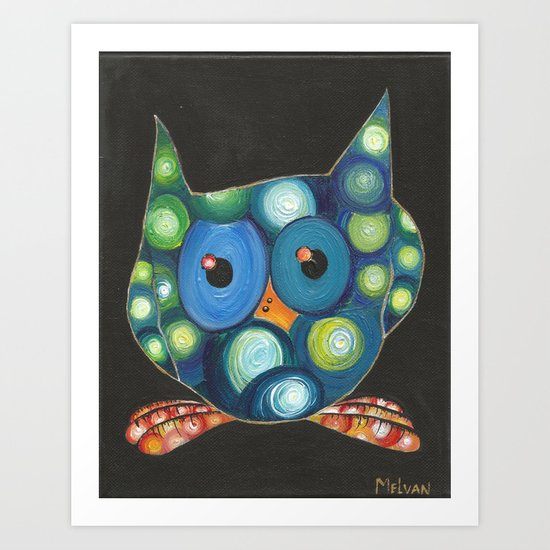 Starry Night Owl Art Print