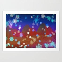 Mountains and Snowflakes Art Print
