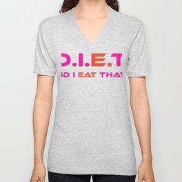 D.I.E.T. Did I Eat That (Pink, Red) Unisex V-Neck