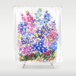 Blue Delphinium Garden Shower Curtain