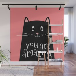 You are amazing word in Cute Cat Wall Mural