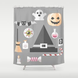 Pumpkin, witches hat, ghost, bat and all other Halloween essentials Shower Curtain