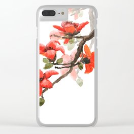 red orange kapok flowers watercolor Clear iPhone Case