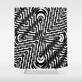 Rhombuses with cross (black-white) Shower Curtain